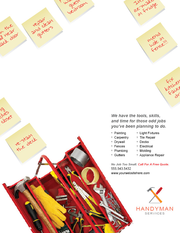 Handyman Services Ad  by 4pmdesign.com - Employment, Display Ad, Construction, Energy & Environment, Home Maintenance, Professional Services, Professional, Colourful, Bright