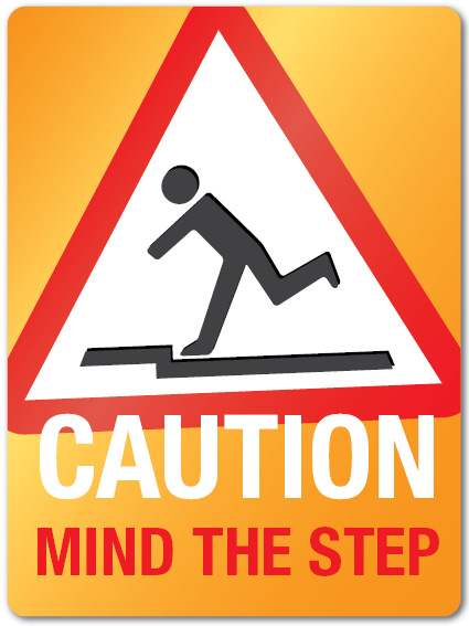 Mind The Step Sign. by 4pmdesign.com - Construction, Bright, Sign
