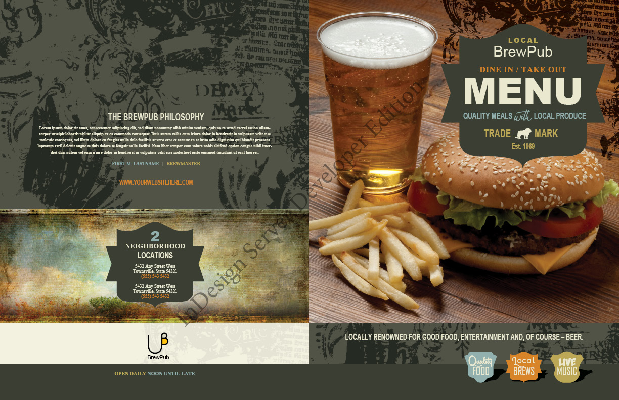 Brew Pub Menu by 4pmdesign.com - Food & Beverage, Menus, Colourful, Grunge, Vintage