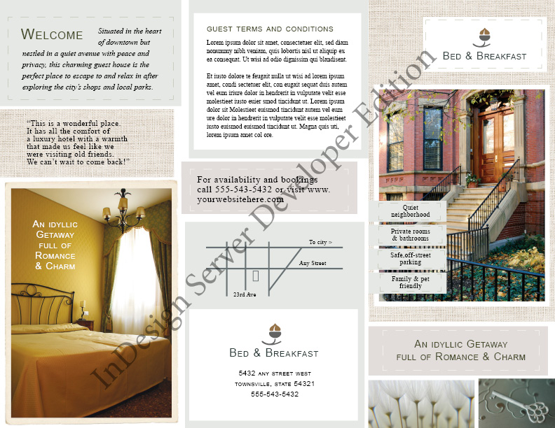 Bed And Breakfast Motel Brochure
