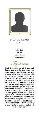 Memorial card, RIP,bereavement, irish wake, irish funeral, grief, in memoriam, bookmarks, jj lalor, dublin printing business, online shop, customised design and print, quality funeral cards